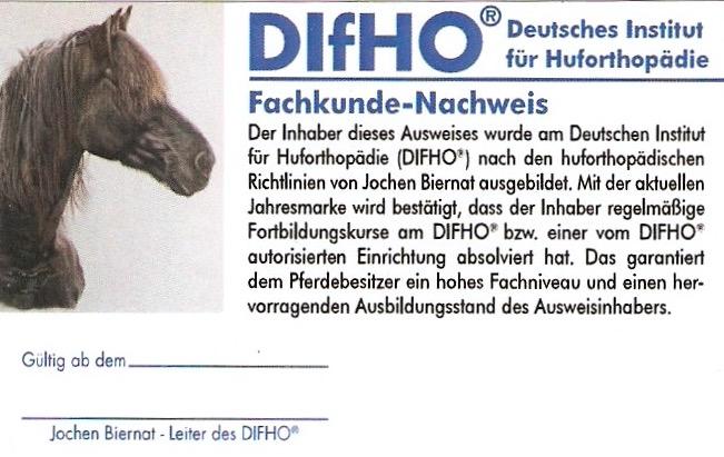 Ausweis der DIfHO Huforthopäden